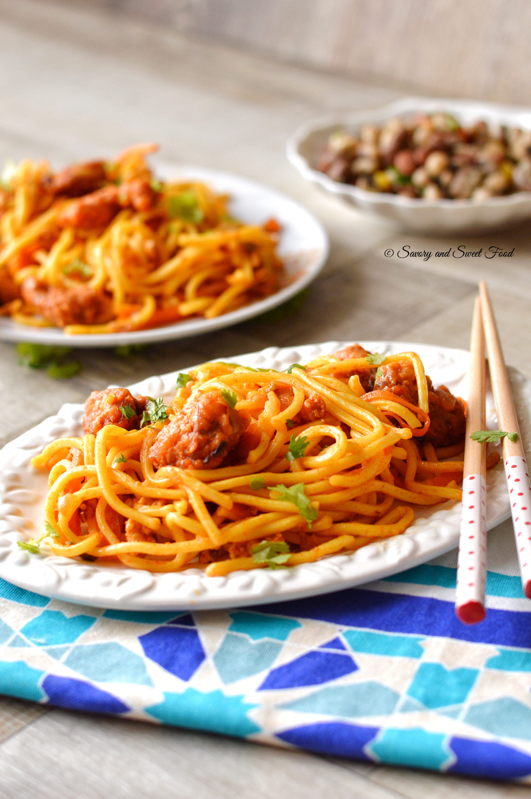 Spicy Chicken Chinese Noodles - Savory&SweetFood
