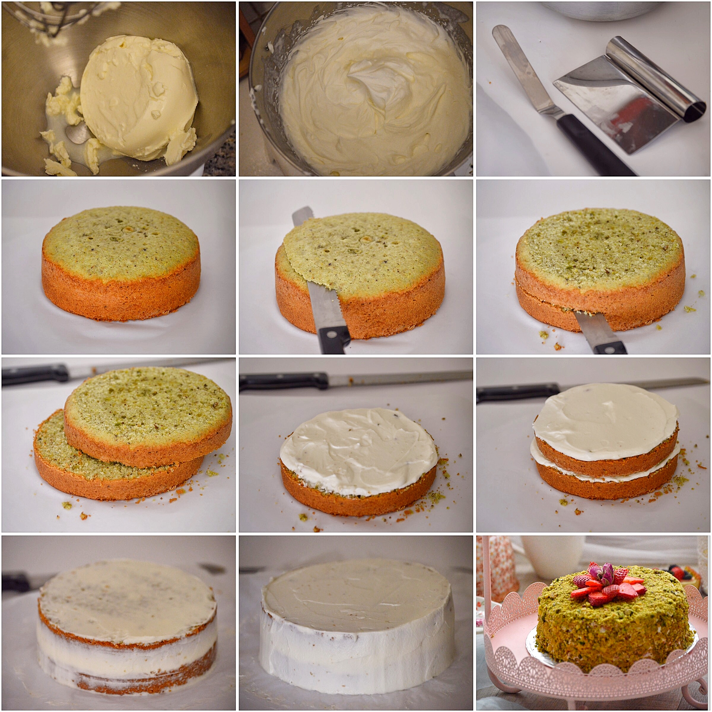 how to make pistachio cake frosting