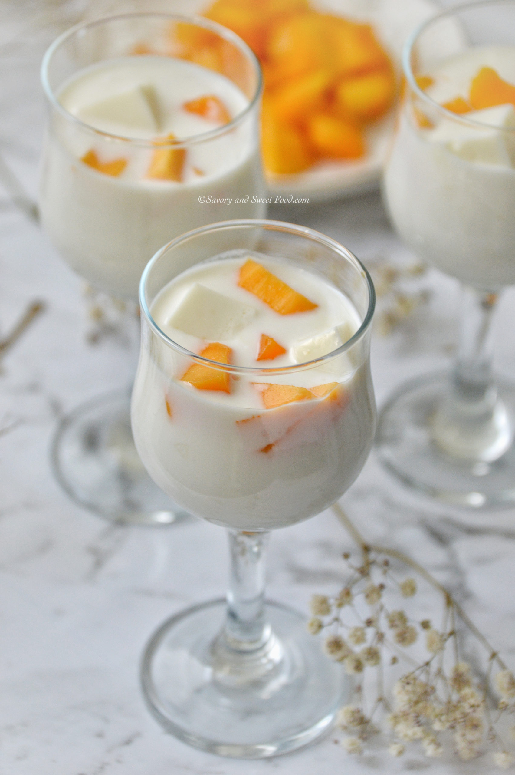 Mango Agar Pudding In Coconut Cream Savory Sweetfood